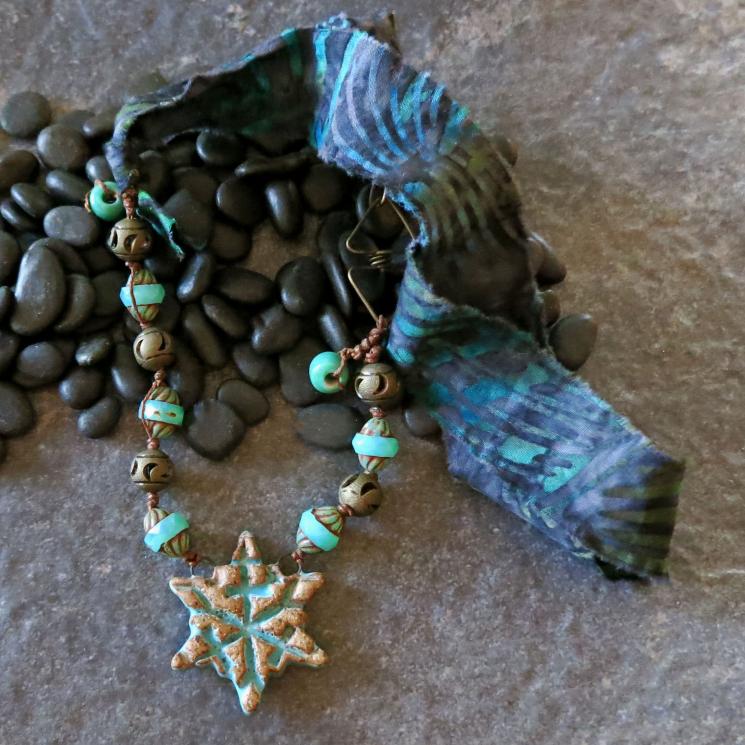 Snowflake Necklace Turquoise Stoneware Pendant Blue Batik
