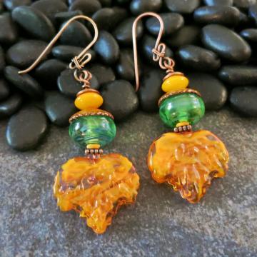 Orange and Green Leaf Earrings Lampwork Glass Statement Earrings