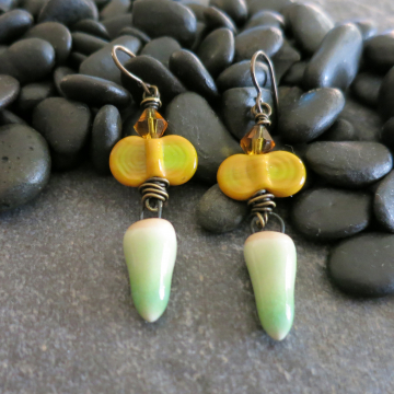 Golden Yellow and Green Earrings Handmade Ceramic and Lampwork