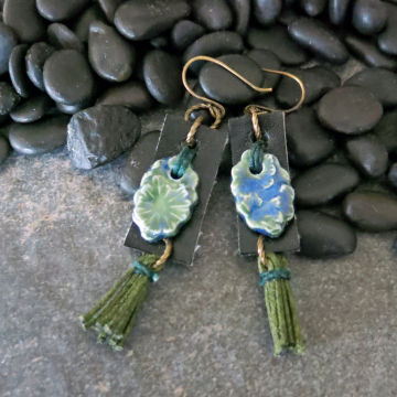 Upcycled Faux Leather Earrings Handmade Blue and Green Ceramic Boho Jewelry
