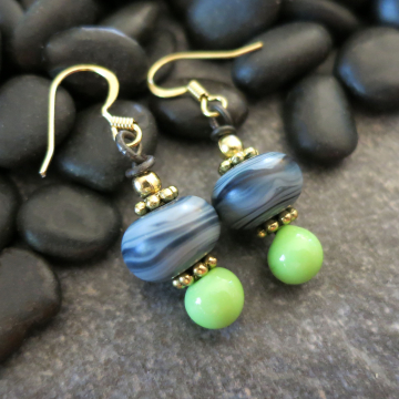 Denim Blue and Green Earrings