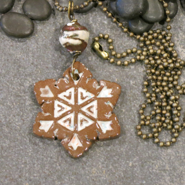Casual Snowflake Necklace Handmade Winter Ceramic Raku Boho