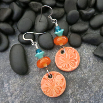 Orange Butterfly Earrings Handmade Ceramic and Glass Turquoise Sterling Silver