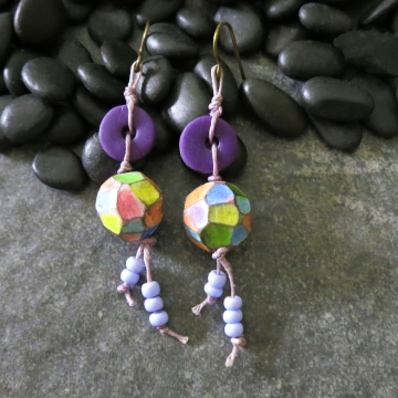 Colorful Faceted Bead Earrings Lightweight Polymer Clay Purple Yellow Pink Blue
