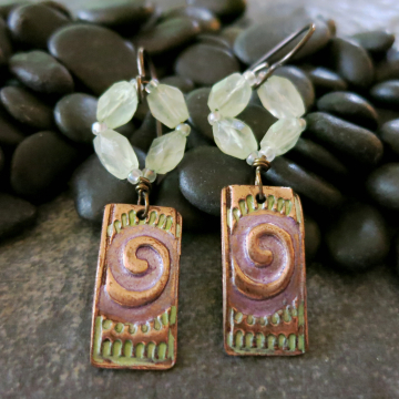 Purple Colored Copper Spiral Earrings with Green Prehenite Handmade