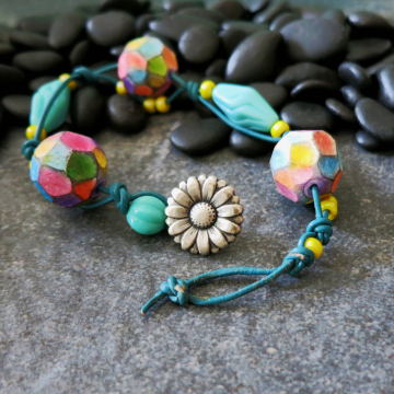 Lightweight Summer Bracelet Colorful Artisan Polymer Clay Leather and Glass Beads