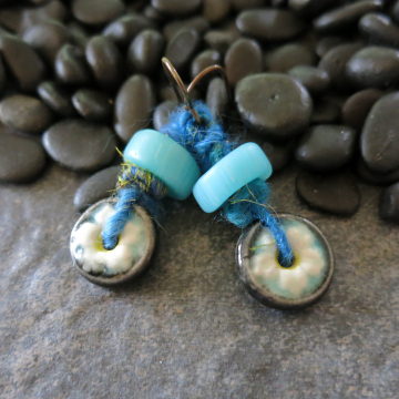 Daisy Flower Earrings  Turquoise Vintage Glass and Wooly Wire Fiber