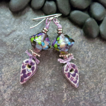 Lampwork Glass Earrings with Handmade Purple Ceramic Charms Dappled Colors