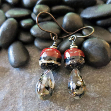 Lampwork Glass Earrings Dark Red and Black