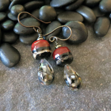 Lampwork Glass Earrings Dark Red and Black