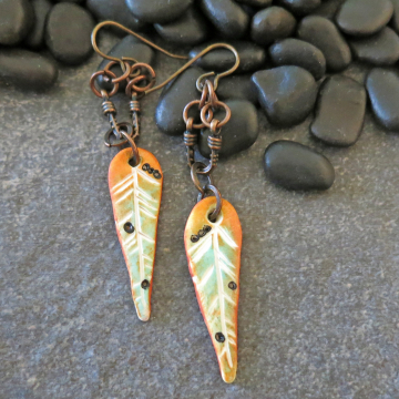 Autumn Colored Feather Earrings Handmade Polymer Clay and Copper