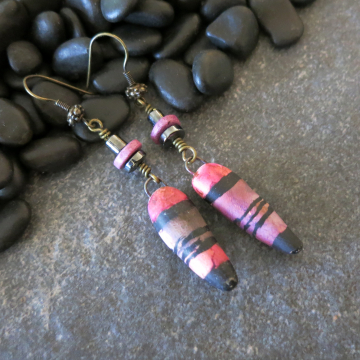 Fuchsia Earrings Bold Violet Black Long Lightweight Polymer Clay