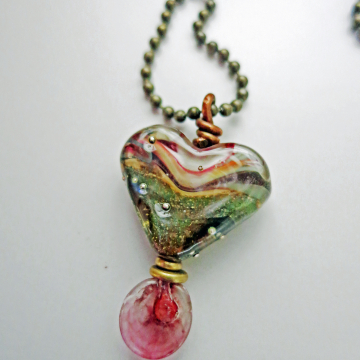 Handmade Heart Necklace Lampwork Glass Pendant Tee Shirt Necklace