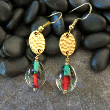Holiday Gold Earrings Red and Green Christmas Earrings Hammered Gold Gift