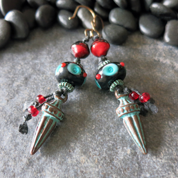 Turquoise Red And Black Earrings Lampwork Glass Beads Verdigris Charms Southwest Style