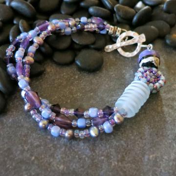 Purple Amethyst Bracelet Multi-strand Pearls Sterling Silver Art Beads