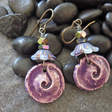 Handmade Spiral Earrings Purple Ceramic and Flowers