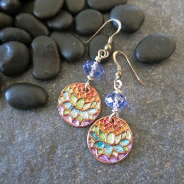 Lotus Earrings Yoga Jewelry Colorful Handcrafted Copper