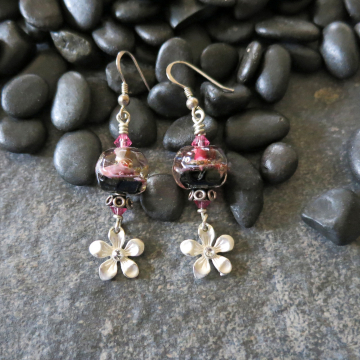 Silver Flower Earrings Pink and Black Lampwork Swarovski Crystals