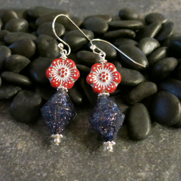 Red and Blue Silver Earrings Viennese Aventurine Sparkle Glass with Flowers Beads
