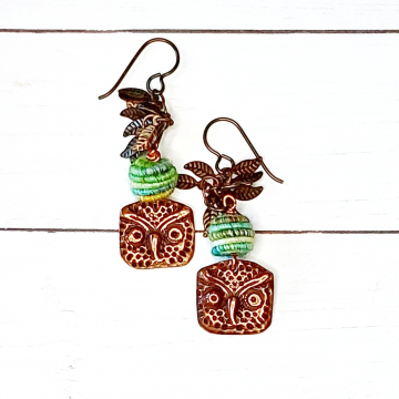Copper Owl Earrings Green and Turquoise Handmade Fiber Textile Beads