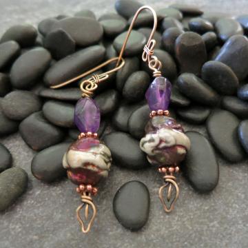 Amethyst and Raku Earrings with Fancy Wire Work Handmade Ceramic Copper