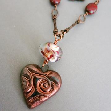 Raku Heart Necklace Dark Red Handmade Ceramic Boho Chic Copper Lampwork Glass