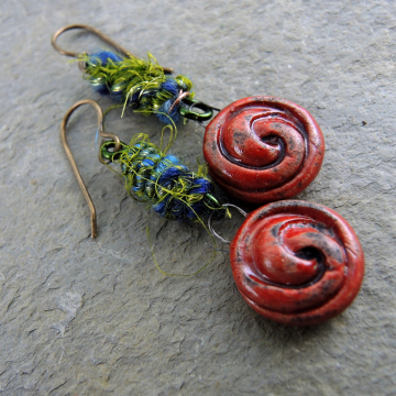 Red Raku Earrings With Wooly Wire Fiber in Blue and Green Rustic