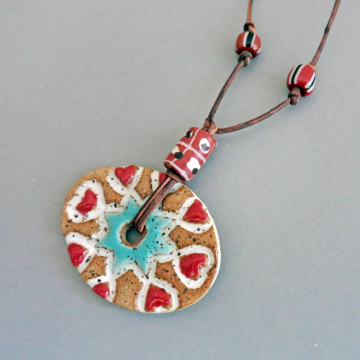 Long Rustic Heart Necklace Boho Handmade Ceramic on Leather Cord