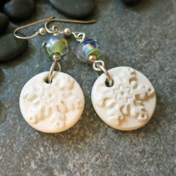 White Snowflake Earrings Blue Lampwork Glass Snow Winter Sterling
