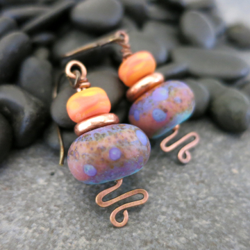 Turquoise and Orange Earrings Handmade Lampwork Glass Tropical Colors