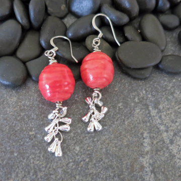 Coral Color Ceramic Earrings with Silver Tassel Handmade Jewelry