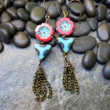 Tropical Tassel Earrings Handmade Jewelry Red Turquoise Chain Tassel