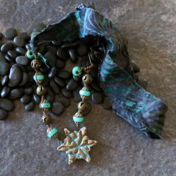Snowflake Necklace - Turquoise  Stoneware Pendant - Blue Batik Fabric