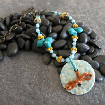 Turquoise Ceramic Necklace with Amazonite Gold Sari Silk Vintage Glass