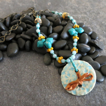 Turquoise Ceramic Necklace with Amazonite Gold Sari Silk Vintage Glass