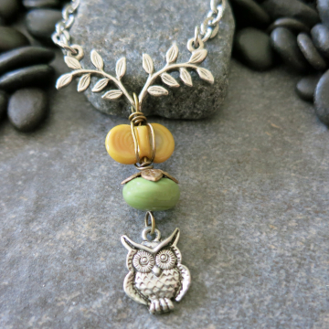 Owl Necklace Silver owl Branch and Chain Lampwork Glass Green Gold