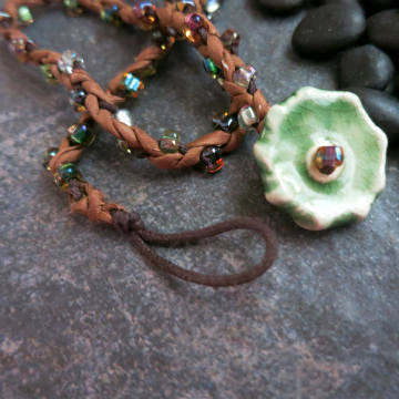 Brown and Green Wrap Bracelet Handmade Layering Boho
